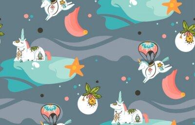 Papiers peints Dessinés à la main vecteur abstrait graphique créatif dessin animé illustrations modèle sans couture avec des licornes de cosmonaute avec tatouage old school, comètes et planètes dans le cosmos isolé