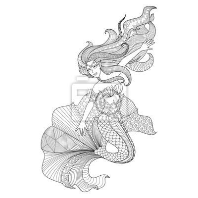 Detail Coloriage Sirene Pour Zentangle Papier Peint Papiers Peints Belle Coloration Fee Myloview Fr