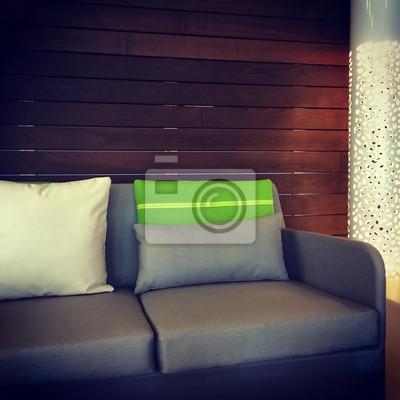 Detail Dun Salon Avec Un Canape Gris Et Lampe Papier Peint Papiers