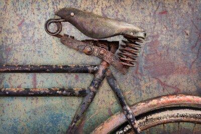 Papiers peints Détail d'un vélo rouillé ancienne avec assise en cuir