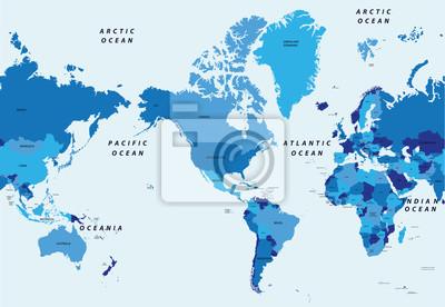 Papiers peints Détaillé, vecteur, Illustration, mondiale, politique, carte ...
