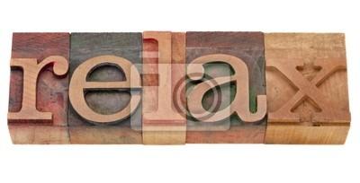 Papiers peints détendre mot dans le type typographique