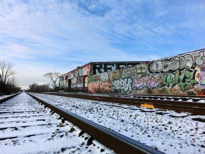 Papiers peints Detroit, Michigan, train, pistes, neige - paysage, couleur, photo