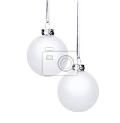 Deux boules de Noël blanc