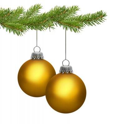 Deux boules de Noël d'or sur la branche de pin