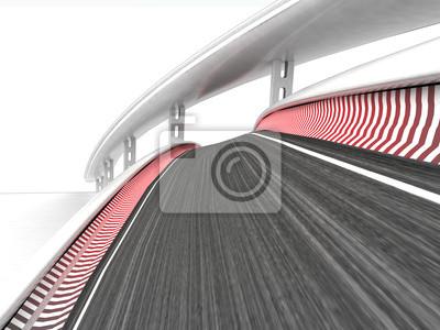 deux pistes de course pliées sur fond blanc