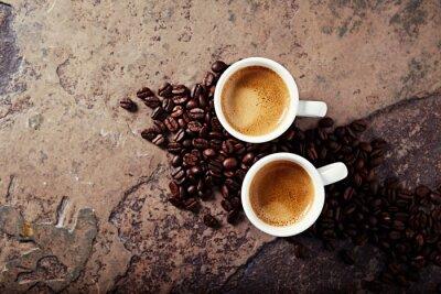 Papiers peints Deux, tasses, café, café, haricots, pierre, fond