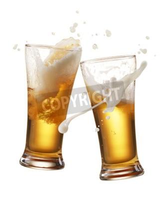 Papiers peints Deux, verre, bière, grillage, créer, éclaboussure