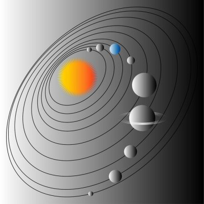 Papiers peints Diagramme du système solaire. Illustration de la structure du système solaire. Terre la planète bleue.