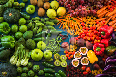 Papiers peints Different fresh fruits and vegetables flat lay on table top, Various fresh vegetables organic for eating healthy and diet