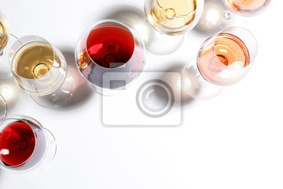 Papiers peints Different glasses with wine on white background, top view