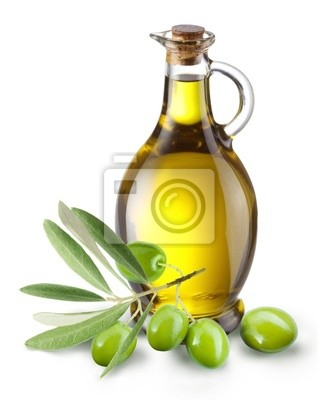 Direction avec des olives et une bouteille d'huile d'olive isolé sur blanc