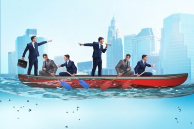 Papiers peints Disagreement concept with businessmen rowing in different direct