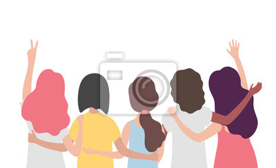 Papiers peints Diverse international group of women or girl hugging together. Sisterhood, friends, union of feminists, event celebration. Girls team on isolated background with copy space. Flat vector illustration.