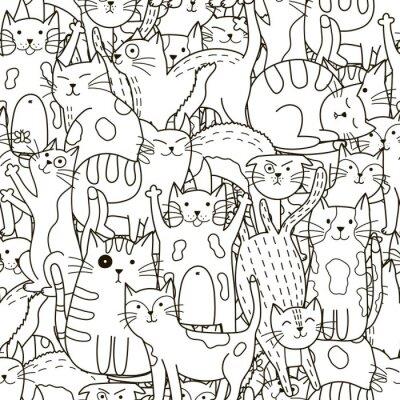 Papiers peints Doodle chats modèle sans soudure. Noir, blanc, mignon, chats, fond