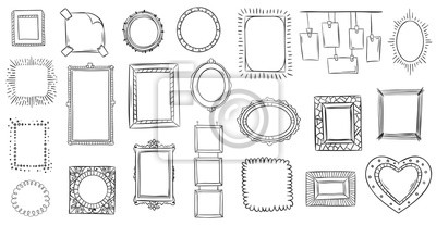 Papiers peints Doodle frames. Hand drawn frame, square borders sketched doodles and picture frame drawing sketch isolated vector illustration