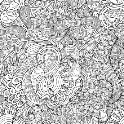 Papiers Peints Doodle Noir Et Blanc Abstrait Dessin Vectoriel Tiré à La Main