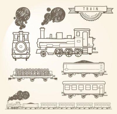 Papiers peints Doodle train. EPS8.