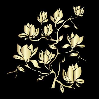Papiers peints Doré, fleurir, branche, Magnolia, noir, fond, vecteur ...
