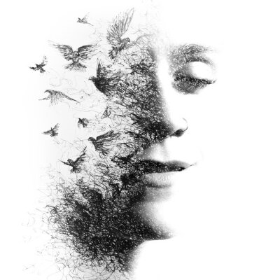 Papiers peints Double Exposure portrait of an elegant woman with closed eyes combined with hand made pencil drawing of a flock of birds flying freely resembling disintegrating particles of her being, black