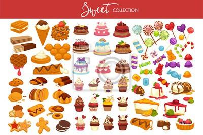 Papiers peints Douce collection de desserts et de bonbons décorés