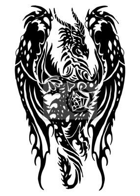dragon tribal tatouage papier peint papiers peints. Black Bedroom Furniture Sets. Home Design Ideas
