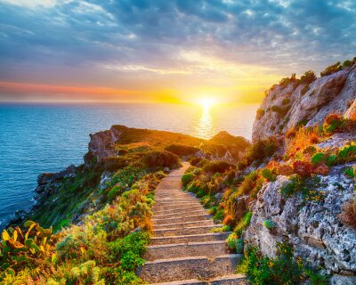 Papiers peints Dramatic spring sunset on the the cape Milazzo panorama of nature reserve Piscina di Venere.