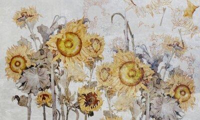 Papiers peints Drawing of sunflowers, illustration of flowers. Flowers for wallpaper, photo wallpaper, mural, card, postcard. Beautiful wallpaper design.