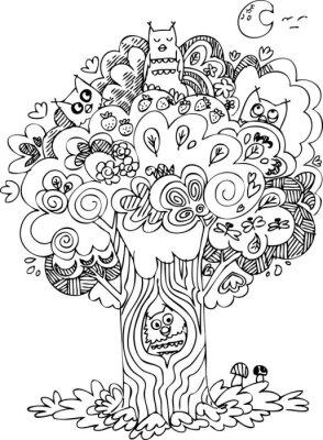 Papiers peints Drôle arbre avec des hurlements mignons