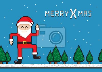 Papiers Peints Drôle De Noël Danse Père Noël Style Pixel Art