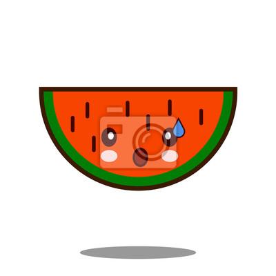 Eau Melon Fruit Icone De Personnage De Dessin Anime Kawaii