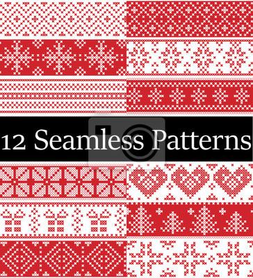 Échantillons de vecteur de style nordique inspirés par Noël scandinave, modèle sans couture hiver festif au point de croix avec coeur, flocon de neige, arbre de Noël, neige, ornements décoratifs rouge