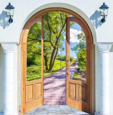 Papiers peints échelle de la porte ouverte