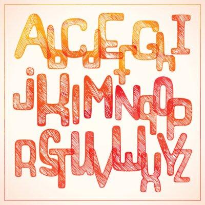 Papiers peints Écriture à la main, rouge, alphabet