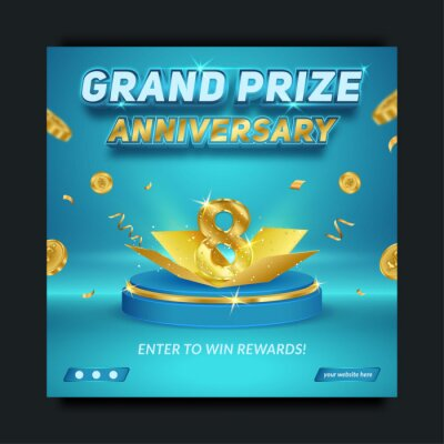 Papiers peints Editable Grand prize anniversary blue and gold, social media banner template