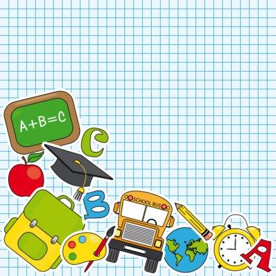 Papiers peints Education et l'icône de l'école ensemble. Espace pour le texte