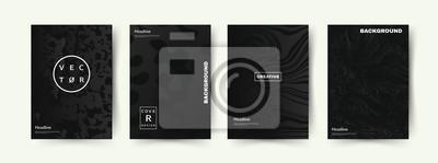 Papiers peints Elégant ensemble de couvertures de couleur noire. Formes abstraites avec des gradients. Conception à la mode. Vecteur EPS10.