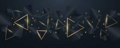 Papiers peints Elegant, geometric background of 3d, black and golden triangles. Wallpaper design for template, cover or banner. Decorative, polygonal shapes. Vector illustration