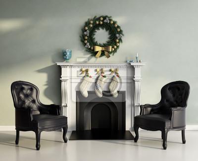 Papiers peints: Elégant luxe contemporain salon avec cheminée