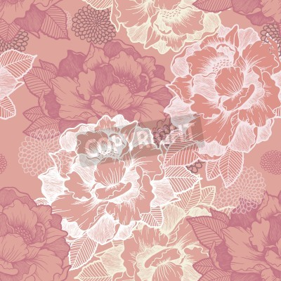 Papiers peints elegant peony seamless floral pattern background over pink