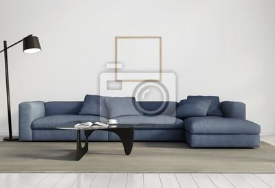 Papiers peints: Élégant salon contemporain, canapé bleu, plancher de bois  blanc
