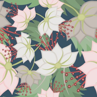 Papiers peints Elegant vector seamless pattern with lotus flowers. Vintage floral romantic texture. Abstract botanical ornament, natural wallpapers in Asian style. Repeat background design for tileable print, fabric