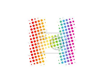 Élément de conception de logo lettre h demi-ton cercle icône papier ...