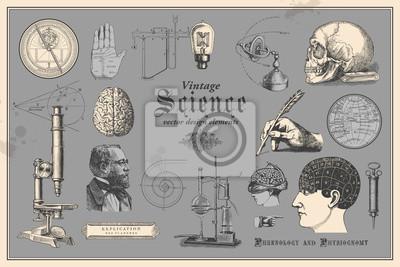 Papiers peints Éléments de conception graphique rétro: science vintage - collection de dessins anciens mettant en vedette des disciplines telles que la médecine, la phrénologie, la chimie, la lecture de la paume (ch