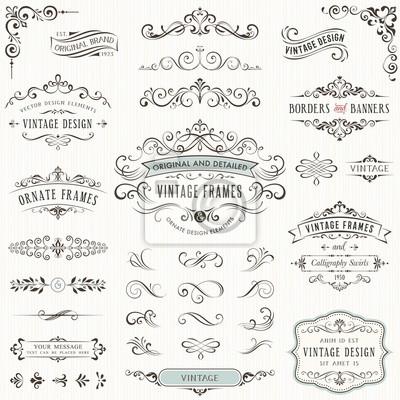 Papiers peints Éléments de conception vintage ornés avec des remous de calligraphie, des swashes, des motifs ornés et des rouleaux. Cadres et bannières.