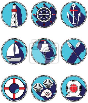 Éléments nautiques I icônes dans le cercle nouée