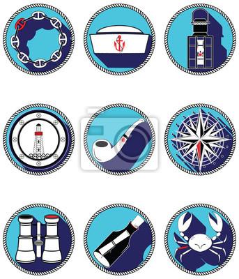 Éléments nautiques icônes IV dans les cercles noués