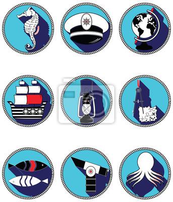 Éléments nautiques III icônes en cercle noué