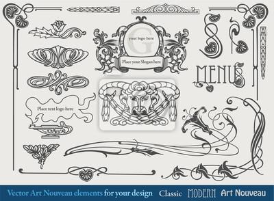 Éléments pour la conception, les bordures, les vignettes dans le style Art Nouveau