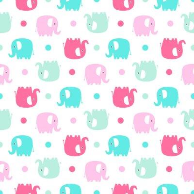 Papiers peints Éléphant plat mignon. Vecteur, seamless, modèle, amusement, couleur, éléphants, silhouette, points Fond doux pour les bébés et les enfants. Pastel couleurs - rose et vert sur fond blanc.